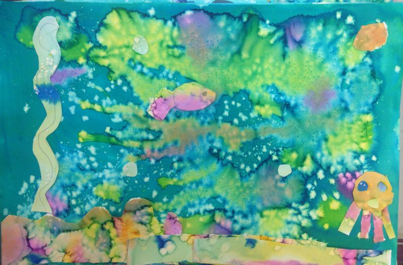 Abstract Underwater Salt-watercolor painting collage