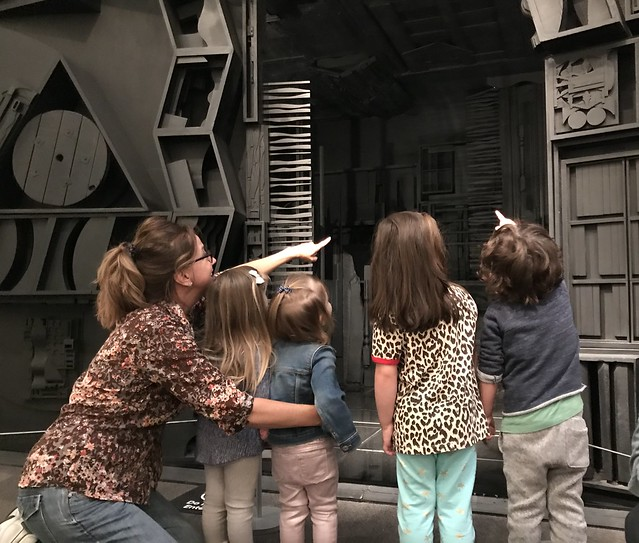 Epic Abstraction with Louise Nevelson monochromatic installation art exploring overlapping lines and shapes with Ages 2-4